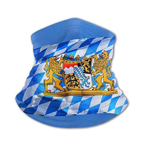 PQU Awesome 12-In 1 Headwear,Bayerische Bayerische Flagge Schwarzes Schweißband, Dekorative Sportgesichtsschilde Für Partyfeiertage,26x30cm
