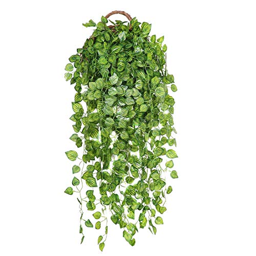 JUSTOYOU 6 pack Artificial Plants Fake Ivy Hanging Garland for Outdoor Indoor Basket Home Garden Wall Decor