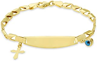 14k Yellow Gold or White Gold Engravable ID Half-Open Link Bracelet with Evil Eye and Religious Cross Charm