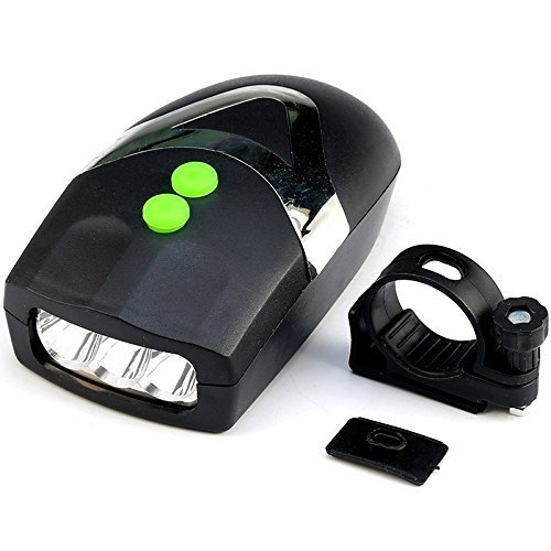 Lista 3 LED Front Head Light & Bell Horn Hooter Siren Alarm Bicycle Cycling Black