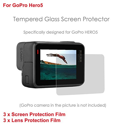 iKNOWTECH GoPro Hero 5 Screen & Lens Screen Protector, Pack of 6 LCD Dispaly Screen Protector + Lens Protector for GoPro Hero 5 Black Sport Camera HD Film Glass Protector