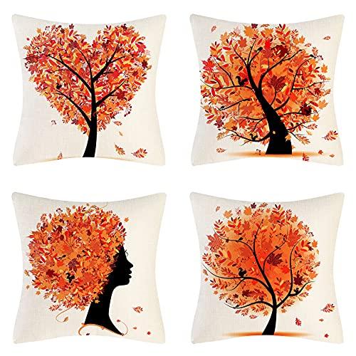 Funda de Cojín Juego de 4 Piezas Patrón de árbol Naranjo Funda de Cojines Decorativo en Forma de Corazón de Lino Funda de Almohada de Planta Suave 45x45cm para Sofá Sala de Estar Dormitorio