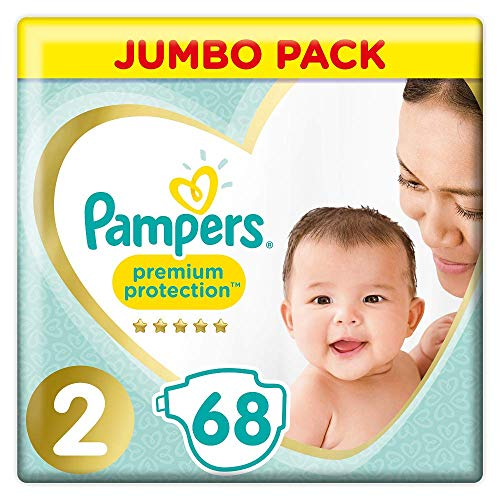 Pampers Premium Protection Windeln, Gr. 2 (4-8kg), Jumbopack, 1er Pack (1x 68 Stück)