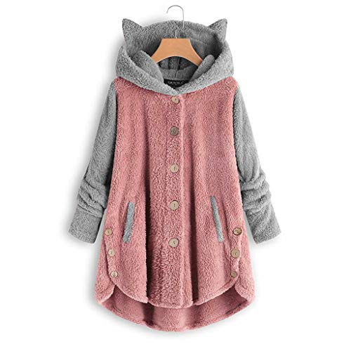 Button Coat for Womens Patchworl Cute Cat Ear Hat Tops Plus Size Hooded Loose causal Pullovers (Pink, XXXXL)