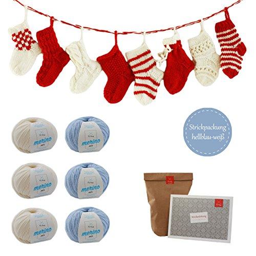 MyOma Advent Kalender DIY -Strickpackung Adventskalender mit 24 kleinen Socken zum selber Stricken- INKLUSIVE 6 Knäuel Merino Mix Wolle und Nadelspiel – leicht verständliche Anleitung
