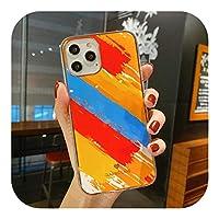 for iPhone 12 11 Pro Max Mini XS XR X 8 7 PlusSE光沢のあるソフトIMDバックカバーCoquecapsa用のヴィンテージ段階的カラー大理石電話ケース-M11-for iPhone 12