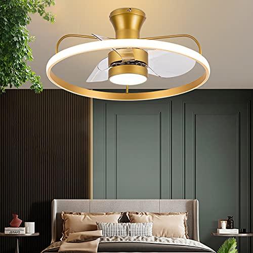 Reversible Dormitorio Ventilador Techo Con Luz Y Mando, 6 Velocidades Regulable Lamparas Ventilador De Techo Con Temporizador Moderno Silencioso Ventilador Techo Con LED Luz,Oro