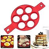 Pancake Moldes Silicona, 7 Ring Molde Formas, Molde de Frito Reutilizable Silicone Antiadherente Pancake Maker Anillo de huevo Hacer un Pastel Rápidamente