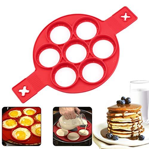 Zaloife Pancake Stampi in Silicone, 7 Holes Pancake Mold, Antiaderente Uovo in Silicone Pancake Maker