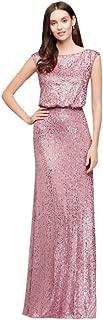 David's Bridal Long Sequin Blouson Bridesmaid Dress Style F19022