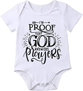 Carolui Newborn Infant Baby Boy Summer Bodysuit,Im Proof That God Answers Players Letter Printed Romper