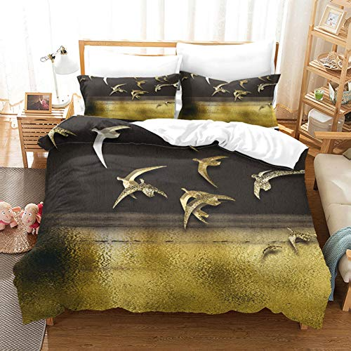 YCLJFQY Duvet Cover Set Super King 3D Printed Golden Flying Goose Pattern Microfibre Super Soft Duvet Cover 260X220cm With 2 Pillowcases 50X75cm Comfortable Bedding Set With Zipper Closure