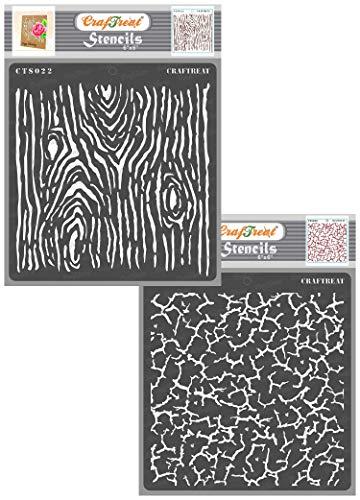 CrafTreat Craquelé-Schablonen zum Malen auf Holz, Leinwand, Papier, Stoff, Wand und Fliesen – Holzmaserung Risseln 2 Stück je 15,2 x cm wiederverwendbare DIY-Schablonen Holzmaserungs-Schablonen