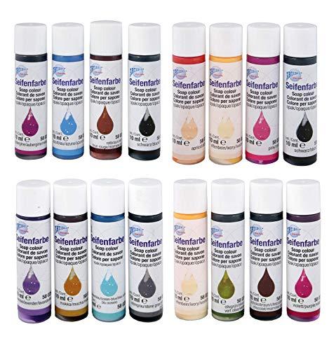 CREARTEC 16-delige set zeepkleuren - assortiment 16 x 10 ml - Opaque kleuren set - voor individuele zeep productie met ondoorzichtige kleuren - Made in Germany