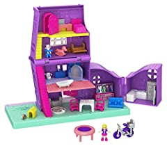 Inspired by Polly's house in her tiny hometown of Pollyville, Pocket House features a babysitting theme and opens to reveal 4 stories, 5 rooms, 4 fun reveals, 11 accessories plus micro Polly and Paxton Pocket dolls and Peaches the dog. Includes fun p...
