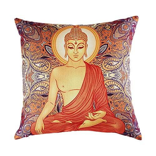Caifujiqi Throw Pillow Covers Hippie Sitting Buddha Decorative Pillow Case Square Pillow Cover Printed Pillowcase with Zipper for Living Room Sofa Couch Outdoor 18x18 Inch