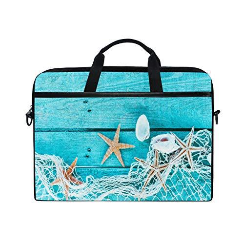 HaJie Laptop Bag Ocean Marine Starfish Animal Seashell Computer Case 14-14.5 in Protective Bag Travel Briefcase with Shoulder Strap for Men Women Boy Girls