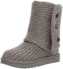 Knit upper (50% Wool, 50% Acrylic). Shaft can be cuffed. Outsole: Treadlite by UGG. pull all the way up the calf, slouch it down a bit, or fold all the way over for a shorter style UGGpure wool insole Polyester binding. Wood-button closures Sheepskin...