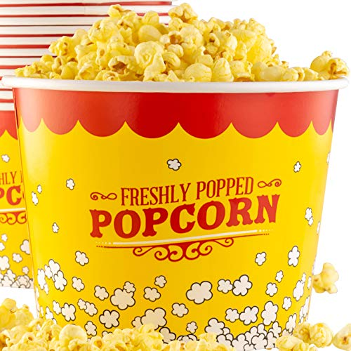 Leakproof, Super Durable 85oz Popcorn Buckets 12 Pack. Grease-Proof Disposable Pop Corn Tubs With Cool Design Are the Ultimate Movie Theater Accessory. Large Containers Great for Any Party or Event