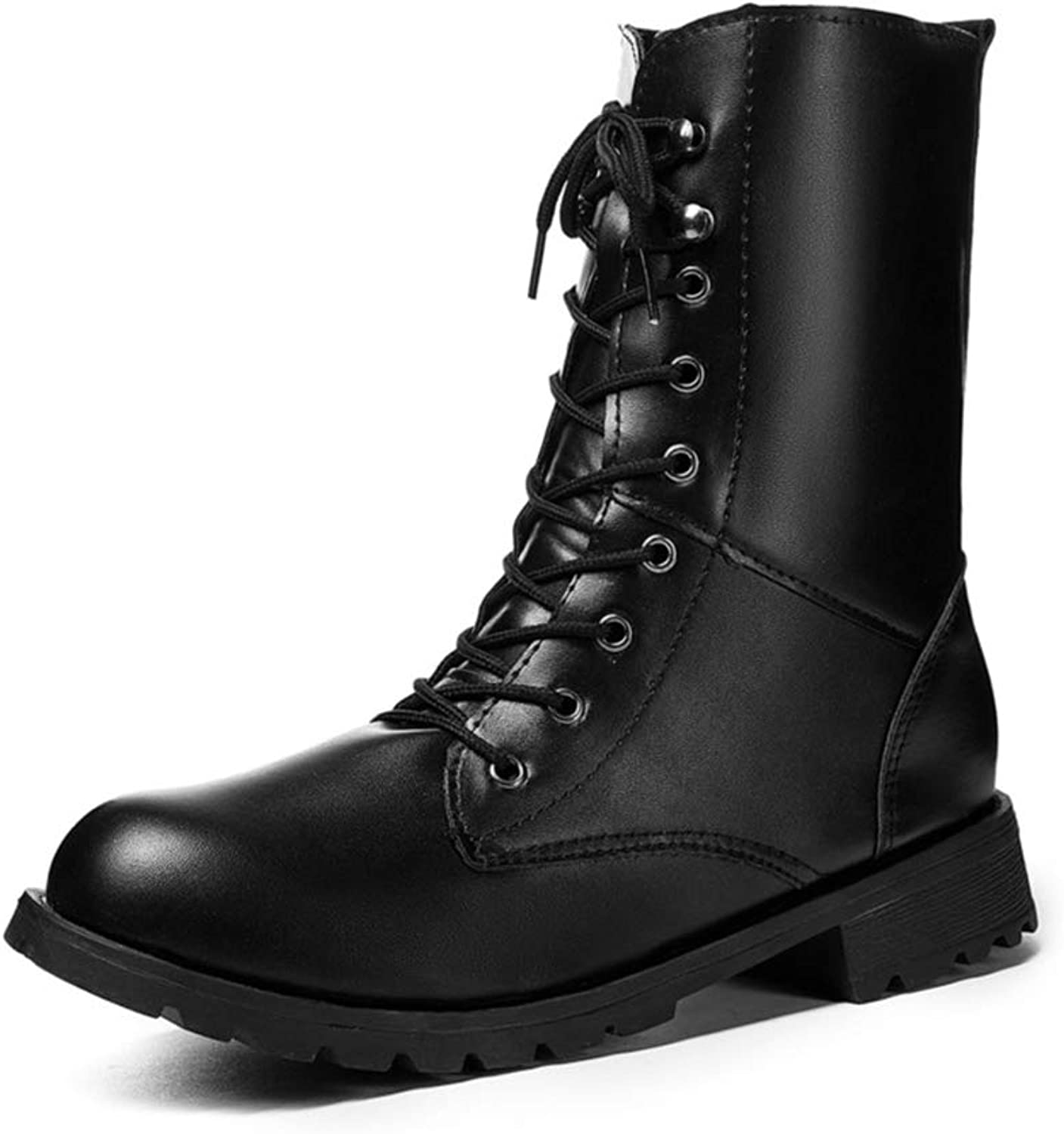Women's Fashion Round Toe Upper Lace-up Ankle Boots Martin Booties Knight Boots Combat Boots