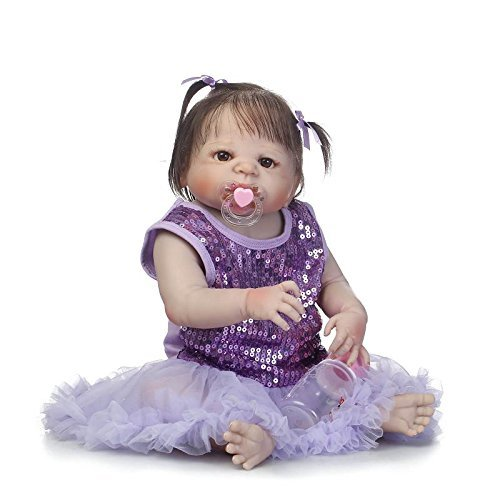 GAOFQ Reborn Girl Doll Cuerpo Completo de Silicona 23 Pulgadas 57cm Reborn Toddlers Girl Purple Shining Dress Rooted Hair Kids Playhouse Doll