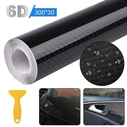 Seamuing Autofolie Carbon Folie, 6D Hochglanz Autofolie Carbon Vinyl Wrap Aufkleber mit Schaber Wasserdichter Vinyl Wrap Roll Auto DIY Aufkleber Film 300 cm X 30 cm Schwarz für Autoverpackungen