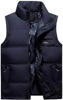 メンズダウンベストウォームノースリーブジャケットダウンコットン軽量パッキントラベルアウタージッパー (色 : 青, サイズ さいず : M)