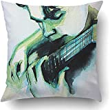 Suo Long Throw Pillow Covers Illustrated Portrait Junge Mann Gitarre Selbstgemachte Musik Paint Face...