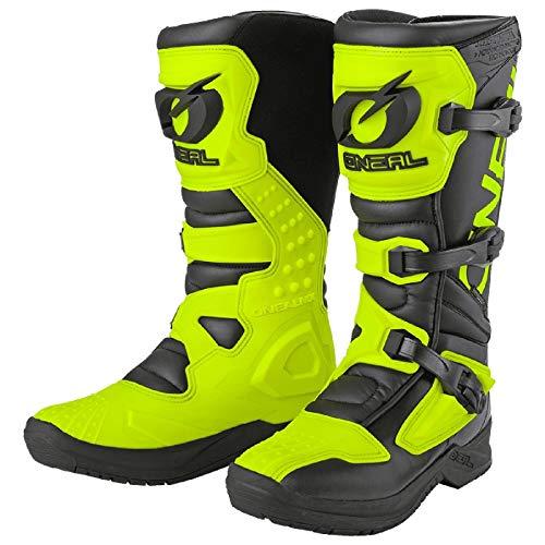 O'NEAL | Stivali Motocross | Moto | Protezione interna della caviglia, del piede e della zona del cambio, fodera perforata, microfibra di alta qualità | RSX | Adulto | Nero Giallo Neon | Taglia 43