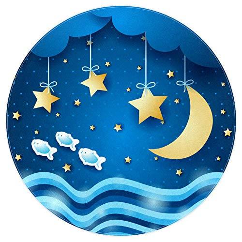 Blue Star Moon Tapis aventure bébé Tapis modernes doux ronds pour les décorations de salle de plancher 120cm