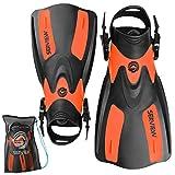 Seaview 180 RAWA Snorkel Fins, Adjustable Swim Fins for Travel, Snorkeling & Diving, Open Heel Short Flippers for Swimming Men & Women