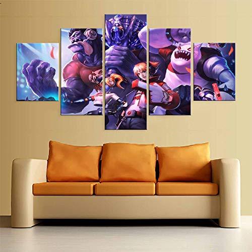 SINIANHUA 5 Panel LOL League of Legends Tpa Skins Juego Lienzo Pintura Impresa para la Sala de Estar Arte de la Pared Decoración Imagen en HD Obras de Arte Painting100x50cm Sin Marco