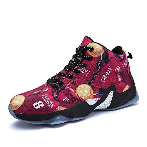 FLOWUNDER Männer Sports rutschfeste Basketballschuhe Atmungsaktive Sneaker Mode Trainer Schuhe Hochleistungs-Stoßdämpfung Trainingsstiefel,Rot,43