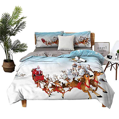 dsdsgog Three-Piece Bedding Big Bed Printed Quilt Cover Christmas Ride on Sleigh Student Dormitory W68 xL85 Zippered Quilt Cover and 2 Envelope Pillowcases