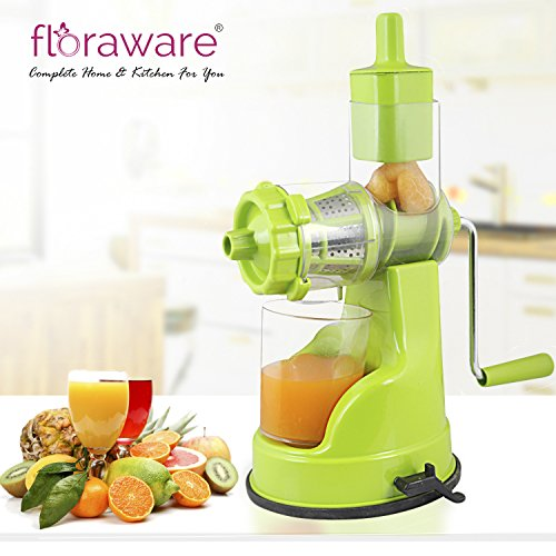 Floraware Plastic Fruit and Vegetable Juicer With Vacuum Locking System, Green