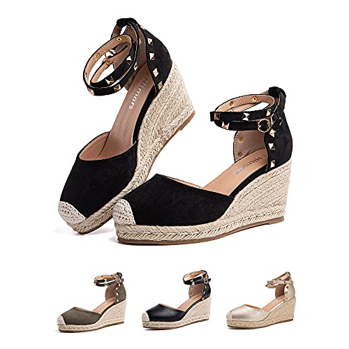 Plateau Sandalen Damen Espadrilles mit Keilabsatz Keilsandalen Absatz Espandrillos Sommer Frauen Schuhe Geschlossene 4 Schwarz 40 EU