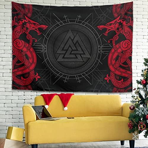 YCNJJB Tapiz de pared vintage con diseño de dragón y vikingo, para decoración del hogar, color blanco 91 x 59 pulgadas