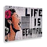 GIALLO BUS - Cuadro - Prensa sobre Tela Canvas - Banksy - Life IS Beautiful - 50 x 70 CM