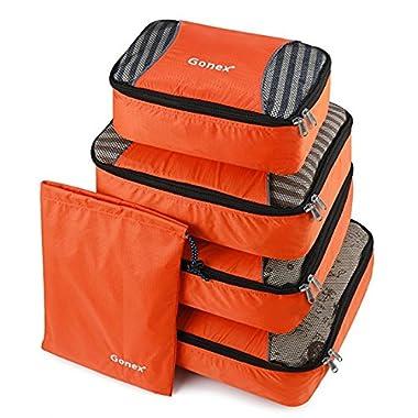 Gonex Packing Cubes Travel Luggage Organizer with Shoe Bag (Orange)