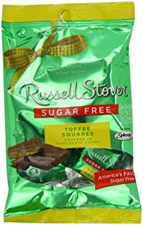 Russell Stover Sugar Free Toffee Squares with Stevia, 3 oz. Bag(Pack of 12)