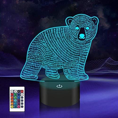 Lámpara de ilusión 3D de 16 colores LED de luz nocturna con control táctil, regalos de Navidad de cumpleaños para niños oso polar