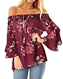 ACHIOOWA Mujer Estampado Camiseta Blusa Tops Manga Larga Cas