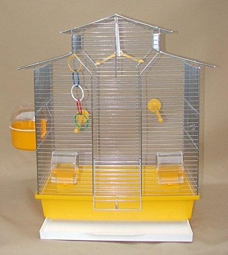 IZA 2 II vogelkooi, exotenkooi, 60 cm vogelkooi super trouper vogelkooi golfzitje kanarien volière vogelhuisje kooi IZA 2 II in geel + 3x gratis
