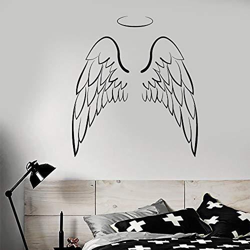 Tianpengyuanshuai Alas de ángel Vinilo Tatuajes de Pared Arte Etiqueta de la Pared Decoración del Aula Etiqueta Moda -55X63cm