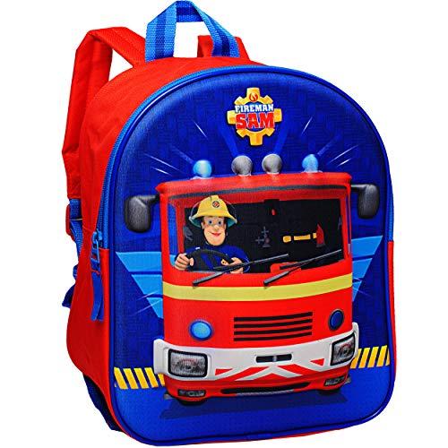 alles-meine.de GmbH 3D Effekt _ Kinder Rucksack - Feuerwehrmann Sam - Tasche - wasserfest & beschichtet - Kinderrucksack groß Kind - Jungen - Kindergartentasche - z.B. für Vorsch..