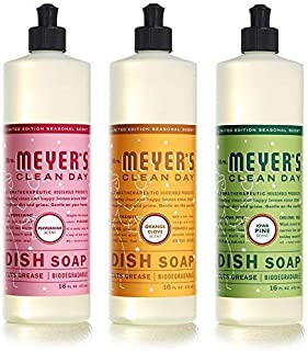 Mrs. Meyer's Clean Day Holiday Collection Liquid Dish Soap bundle (Iowa Pine, Orange Clove, and Peppermint scent 16oz, 3pk