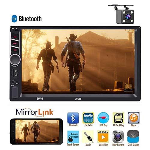 Doppel-Din-Autoradioempfänger, 7-Zoll-HD-Touchscreen-Autoradio mit C-Play-Funktion, Unterstützung für Android- und iOS-Spiegelverbindung Bluetooth/FM/USB/AUX/RCA/mit 4 LED-Leuchten als Rückfahrkamera