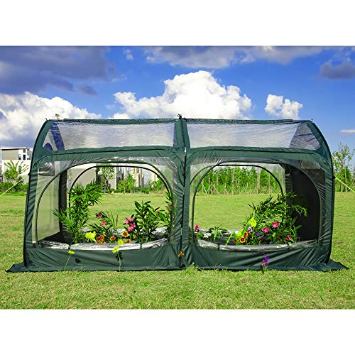 porayhut Pop Up Greenhouse Cover Flower House Mini Gardening Plant Flower Sunshine Room Room,Backyard PVC Greenhouse Cover for Cold Frost Protector Gardening Plants (Large)