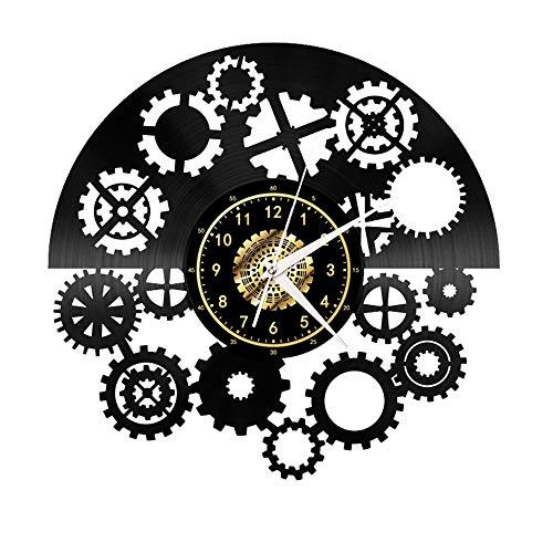Reloj de pared de vinilo Gear para regalo, hecho a mano, reloj de pared negro, regalo único para hombres y mujeres para decoración de pared de cumpleaños