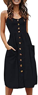 Halife Womens Dresses Summer Casual Spaghetti Strap Floral Button Down Swing Midi Dress with Pockets